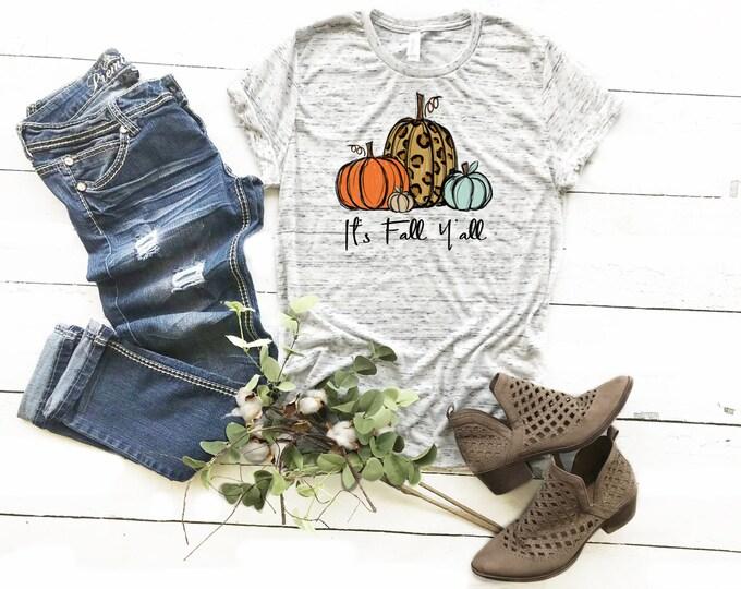 It's Fall Y'all, Leopard Pumpkins, Unisex Short Sleeve Shirt for Women