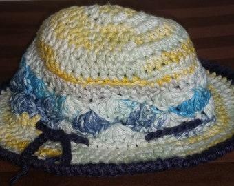 1e861bf2a29 Little Boy Blue Fishing Hat ~ Boy s Crochet Brimmed Hat ~ Cotton Sunhat~  Spring and Summer ~ Beach Wear