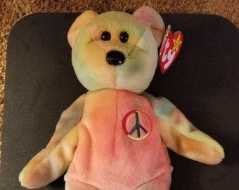 054f9036bde TY Beanie Babies Peace the Bear Tye Dyed  Retired 1999 Vintage