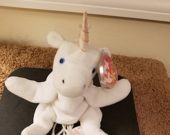 TY Beanie Babies Mystic the White Unicorn with White Yarn Mane,  Iridescent Horn /Retired 1998 /Vintage
