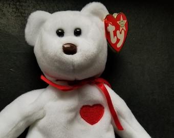 Ty Beanie Babies Rare Valentino Bear Ty Beanie Baby 1993 1994 WHITE STAR PVC 4dbb6b36aca