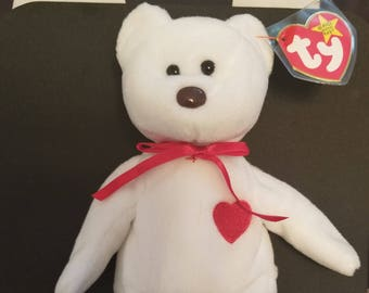 TY Beanie Babies Valentino White Bear with Red Heart Retired 1998 Vintage  Rare Sold with tag errors with sticker on hang tag 27ee1ff88b