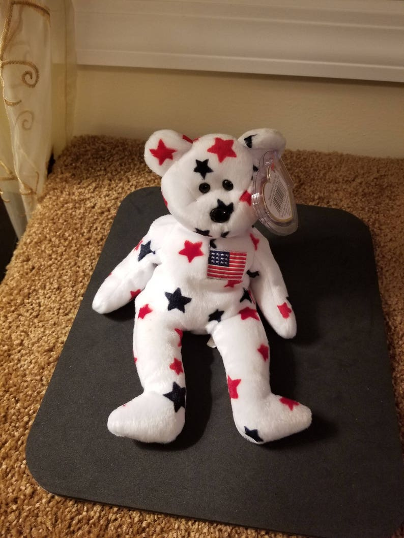 e16b32e2c84 TY Beanie Babies Glory the Red and Blue Stars Teddy Bear with