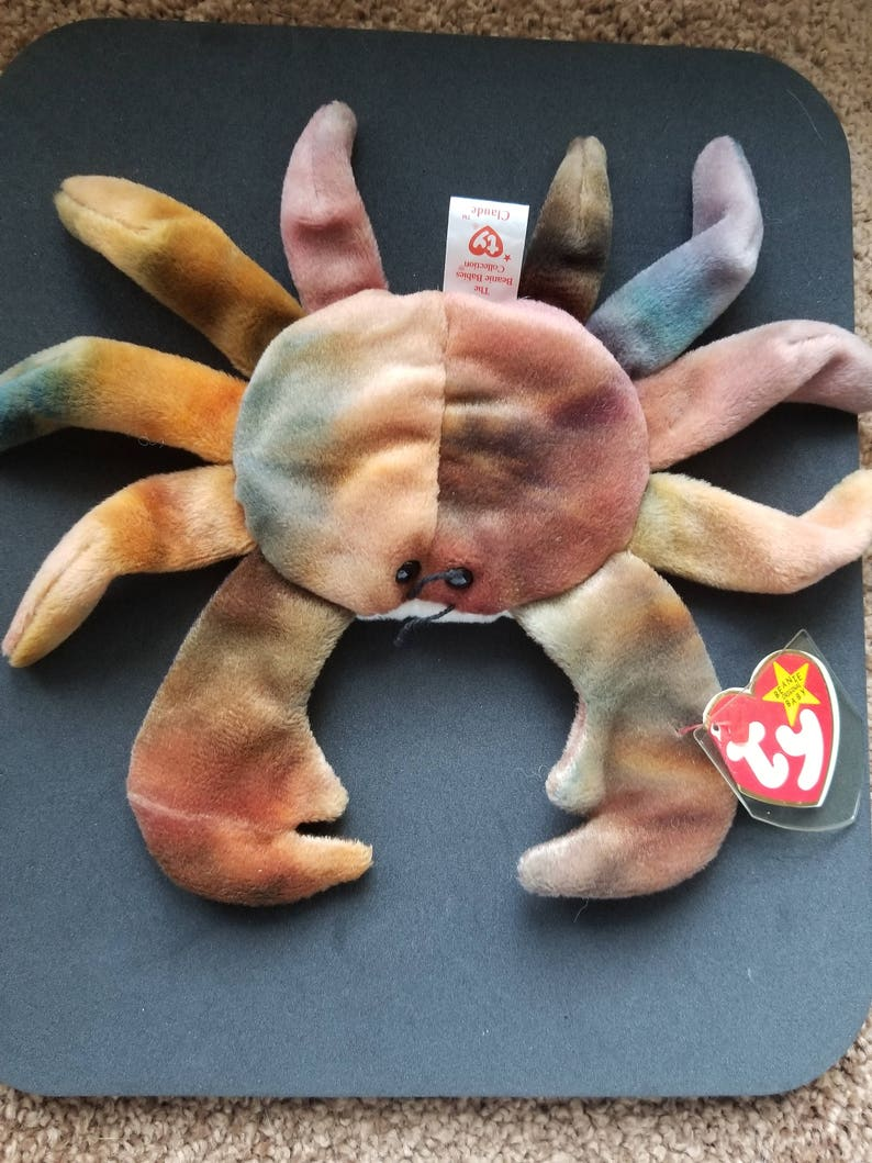 77564212333 TY Beanie Babies Claude the Tye Dyed Crab  Retired 1998