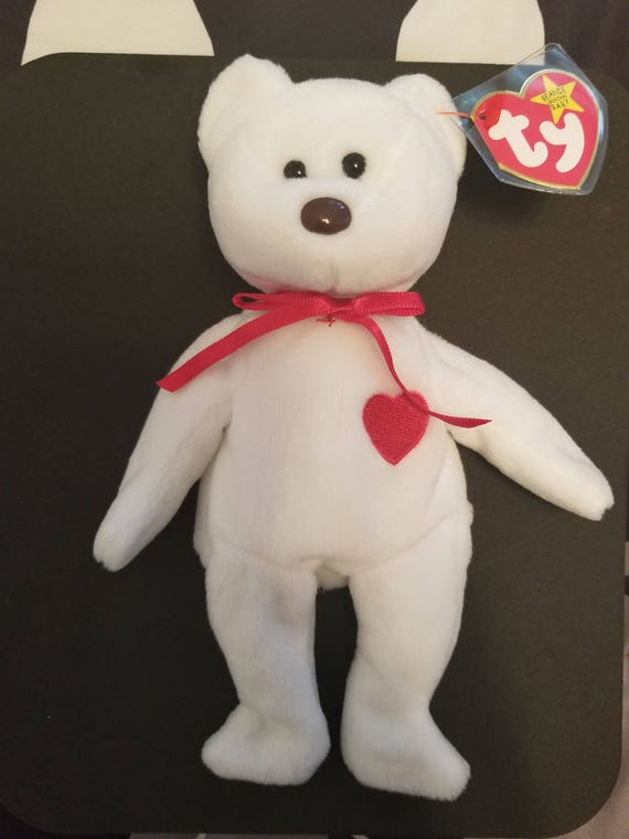 3e29fdd4f4c TY Beanie Babies Valentino White Bear with Red Heart on