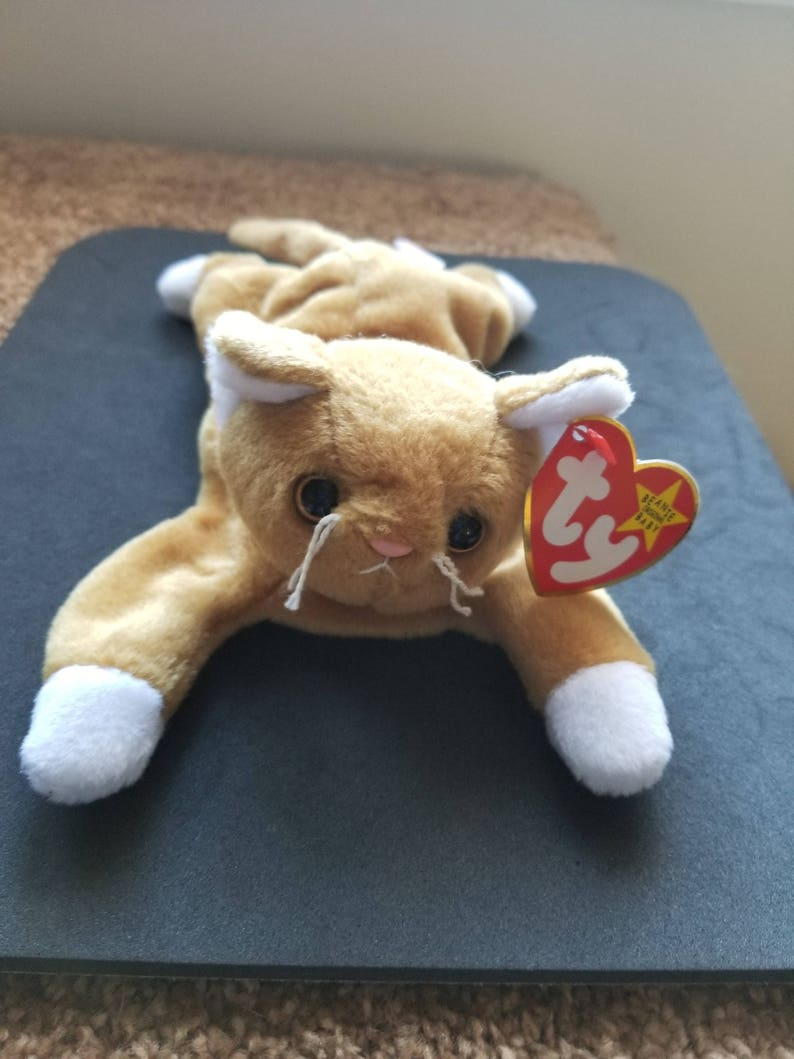 e7161dec72f TY Beanie Babies Nip the Cat with white paws  Retired 1997