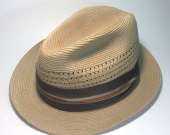 Vintage Stetson Straw Hat - Size 7 - Collectible Fedora - 1960s Midcentury  - Brown 5d3fa4d92897