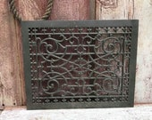 Antique Cast Iron Reggio Register Vent Cover Grate Air Return - Intricate Scroll Design - Metal Victorian-Style Architectural Salvage
