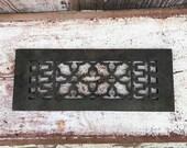 Antique Cast Iron Reggio Register Vent Cover Grate Air Return - Intricate Quatrefoil Design - Metal Victorian-Style Architectural Salvage