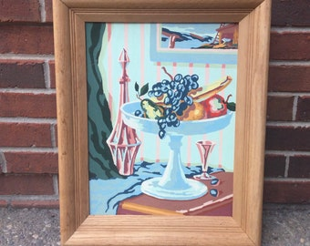 Framed Paint by Number Still Life with Fruit Bowl and Glassware in Pastel Pinks, Blues, and Greens
