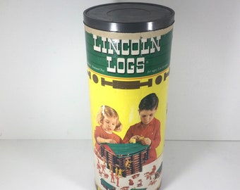 Lincoln Logs 1960s Wood  Building Toy