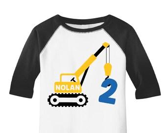 Crane Birthday Shirt Construction Party Boys