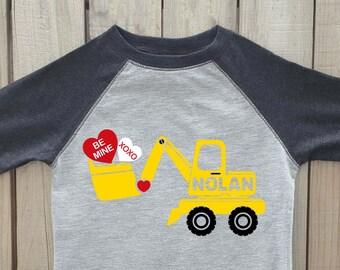 Boys valentine shirt, valentines day shirt, construction shirt, valentine digger, boy valentine, valentines shirt, toddler valentine shirt