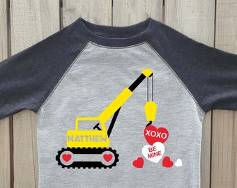 valentines crane shirt, Boys valentine shirt, valentines day shirt, construction shirt, boys valentines shirt, valentines shirt, crane shirt