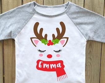 kids christmas shirt girls christmas shirt reindeer christmas shirt personalized christmas shirt christmas shirts girls - Christmas Shirts For Girls