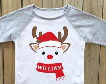 christmas shirt, boys christmas shirt, reindeer christmas shirt, personalized Christmas shirt, christmas shirts boys christmas shirts