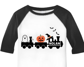 40a1a0338 Boys Halloween Shirt, Personalized Halloween Shirt, Kids Halloween Shirt, Train  shirt, Halloween Outfit boys, Baby Boy Halloween, Custom