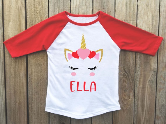 Valentines Day Shirt Girls Unicorn Shirt Valentines Shirt Etsy