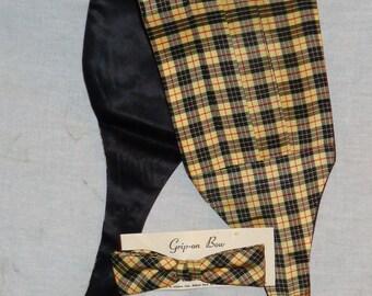 1950's Plaid Cummerbund & Bow tie Set