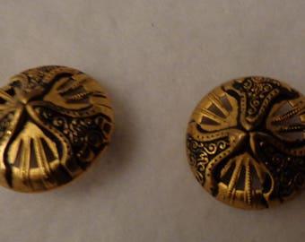2 Vintage Antiqued Metal Buttons