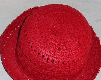 1960's Crocheted Red Bucket Hat