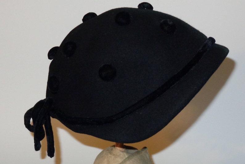 Vintage 40/'s Black Merrimac Wool Cloche