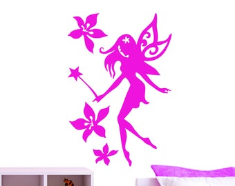 Fairy Wand Flower Fairy Tales Wings Girls Princess Decorative Vinyl Wall Sticker Decal .