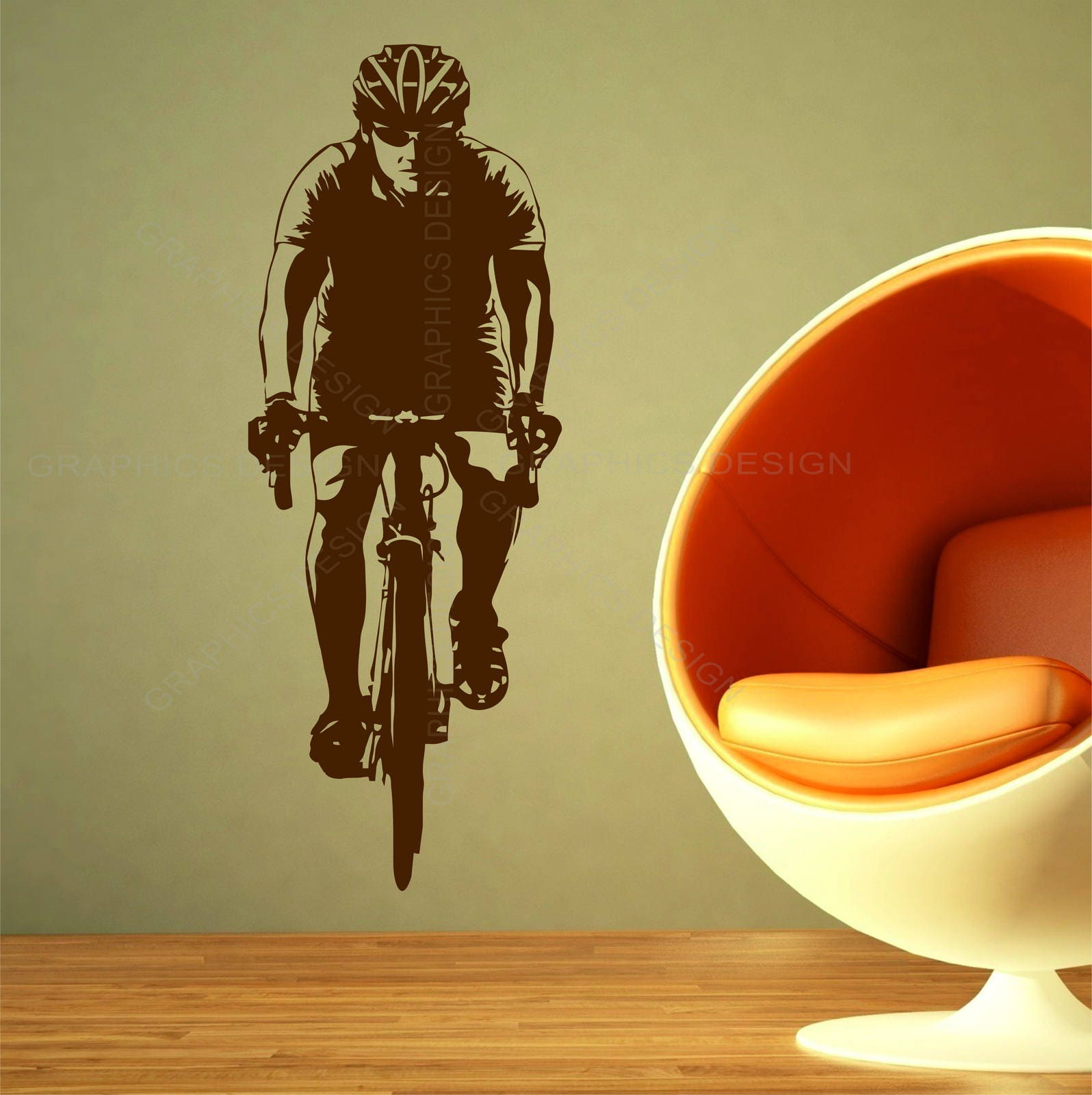 Bike Cyclist Bicycling Sports Gym Wall Art Stickers Decals Vinyl .