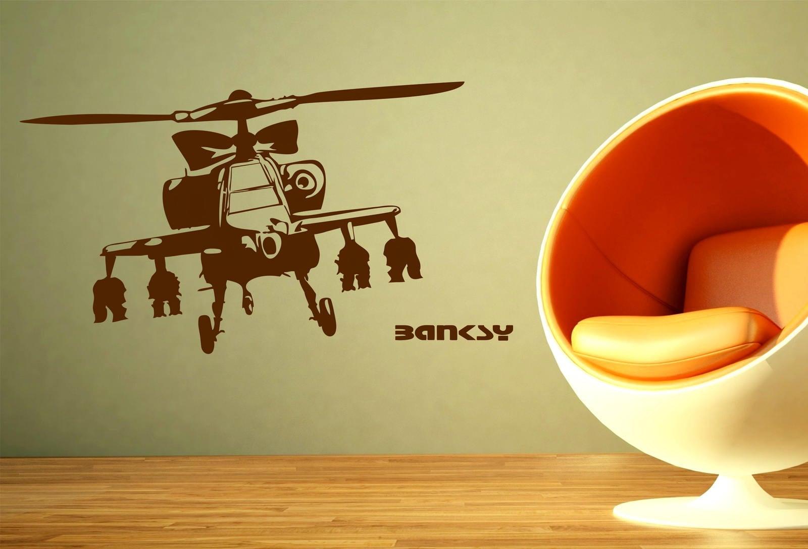 Banksy Apache Helicopter Decor Vinyl Wall Sticker Decal Graffiti Art ...