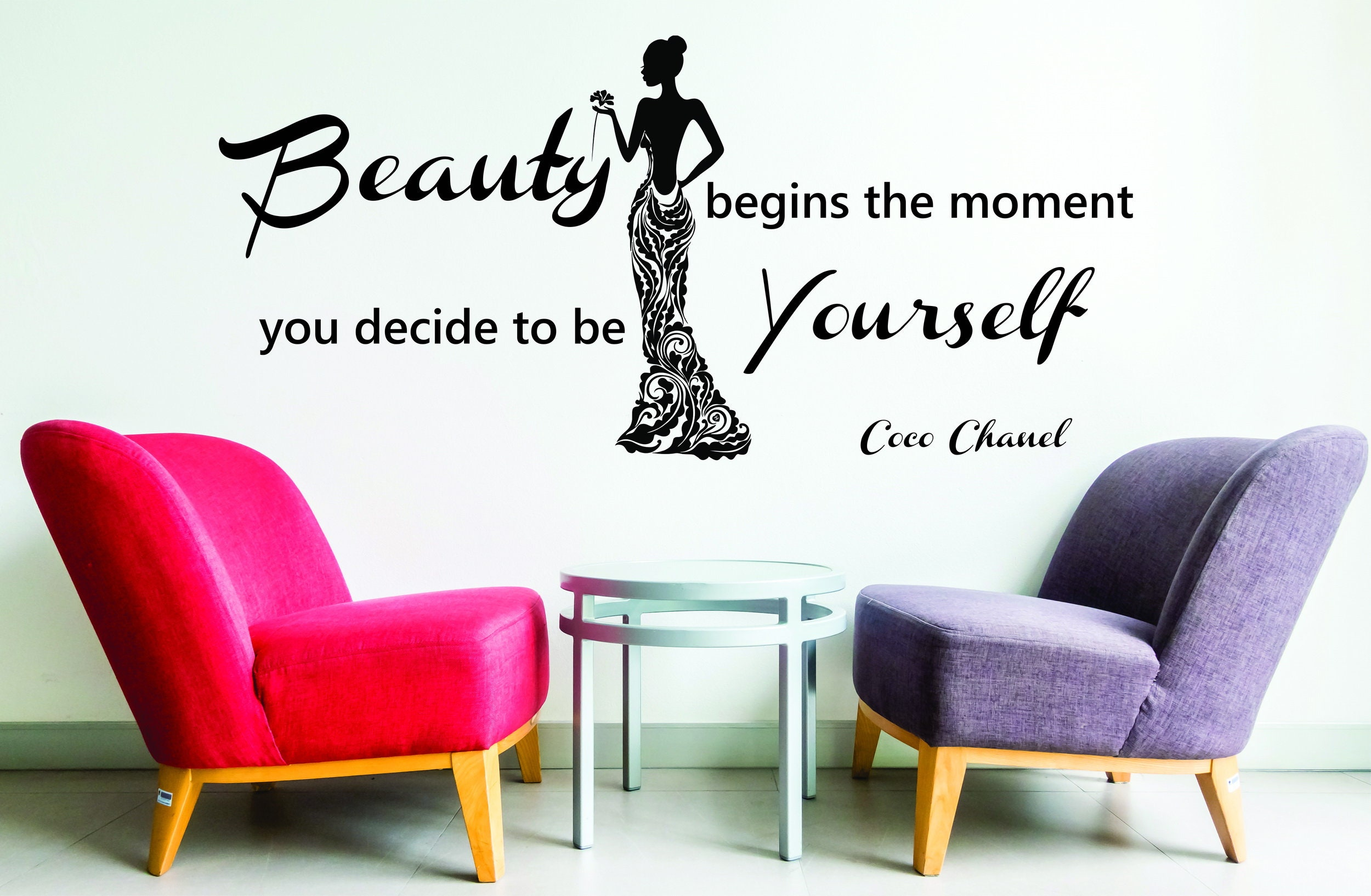 Coco chanel quote beauty begins the moment you decide to be yourselfextralarge office vinyl wall sticker decal bedroom