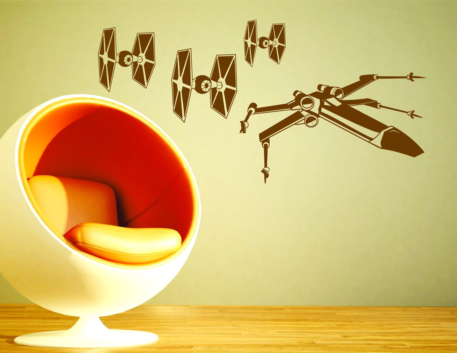 Star Wars Tie Fighter X-Wing Starfighter Decorative Vinyl Wall ...