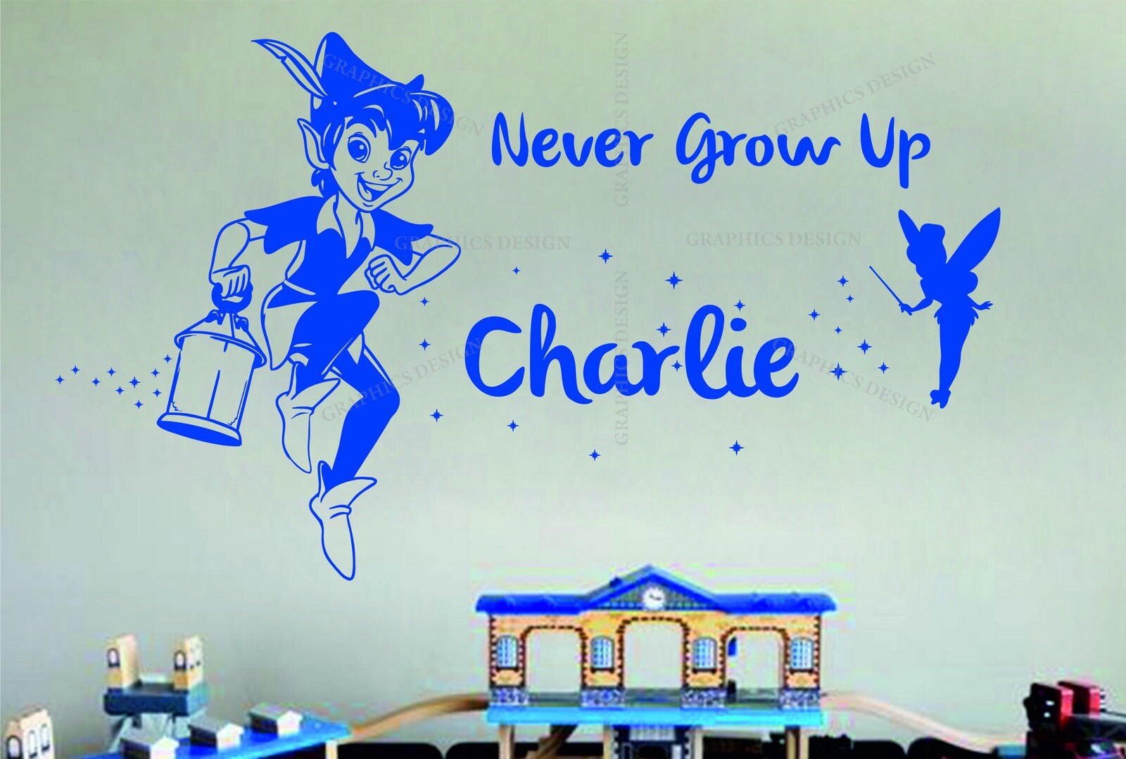 Peter Pan Personalised Name Never Grow Up Quote Decor Vinyl Wall