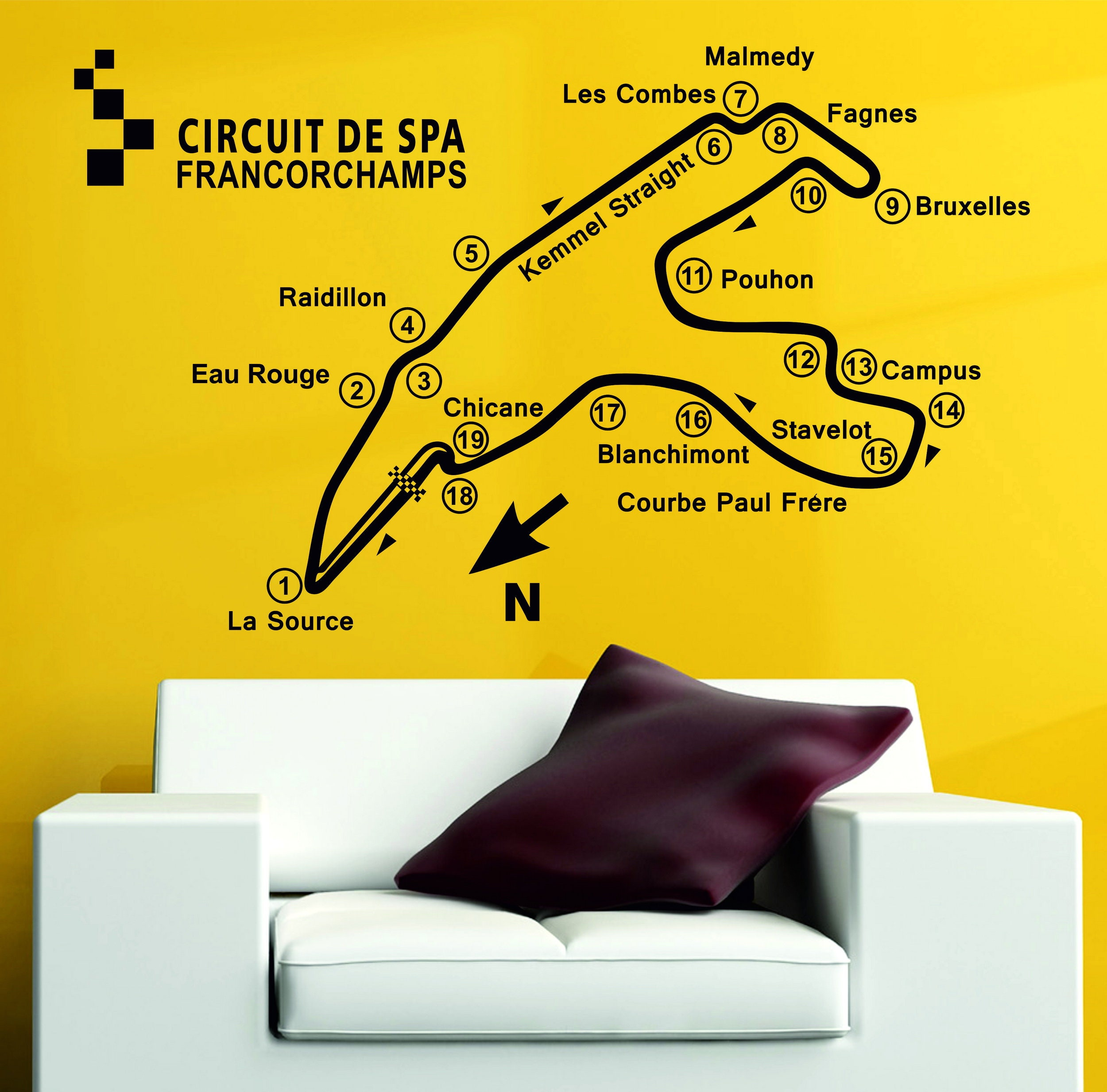 Spa Francorchamp Track Circuit Map F1 MOTO GP Decor Art Vinyl Wall ...