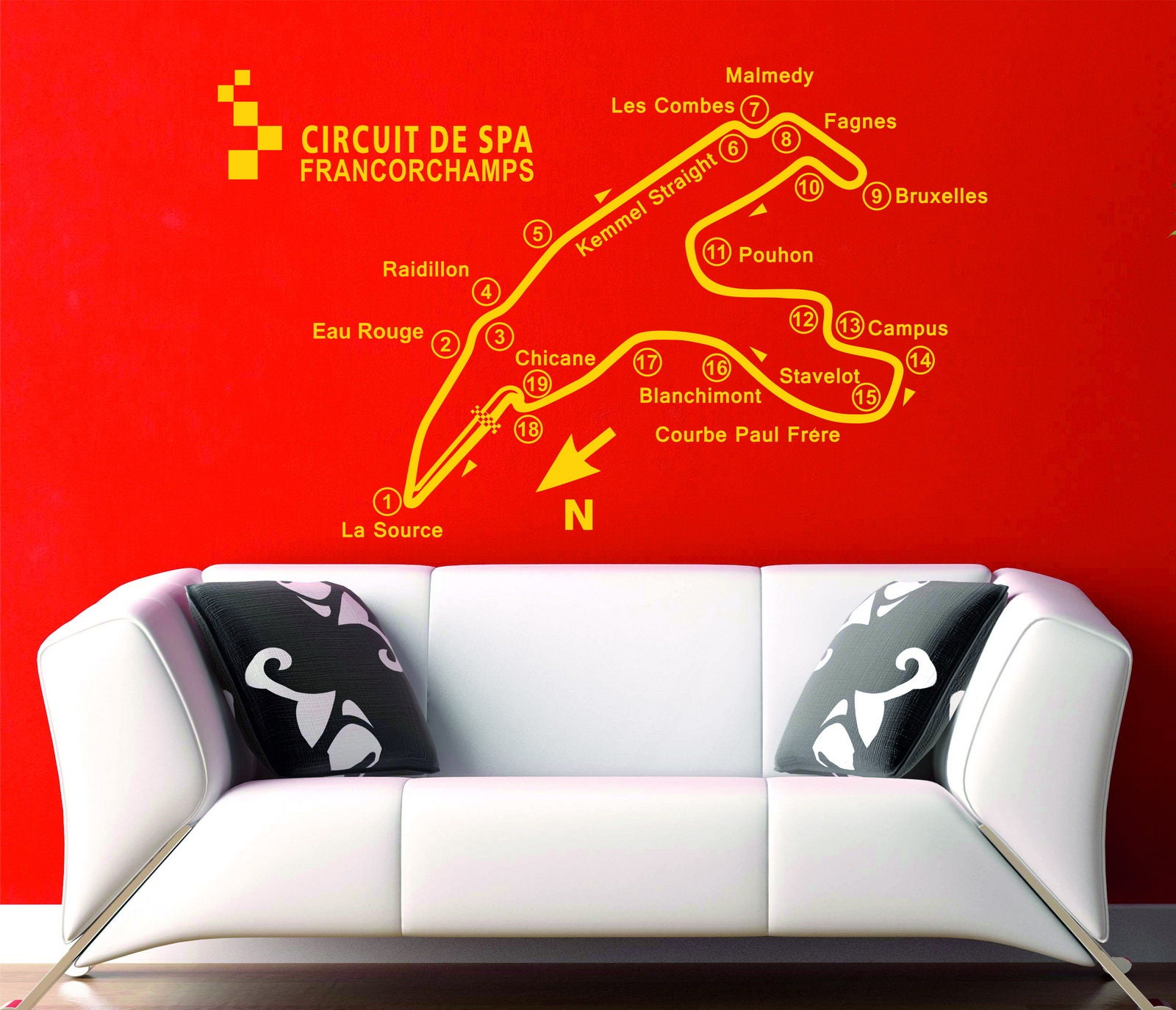 Spa Francorchamp Track Circuit Map F1 Moto Gp Decor Art Vinyl Wall Board Tree Graphic Stickers Decals Sticker Decal 1
