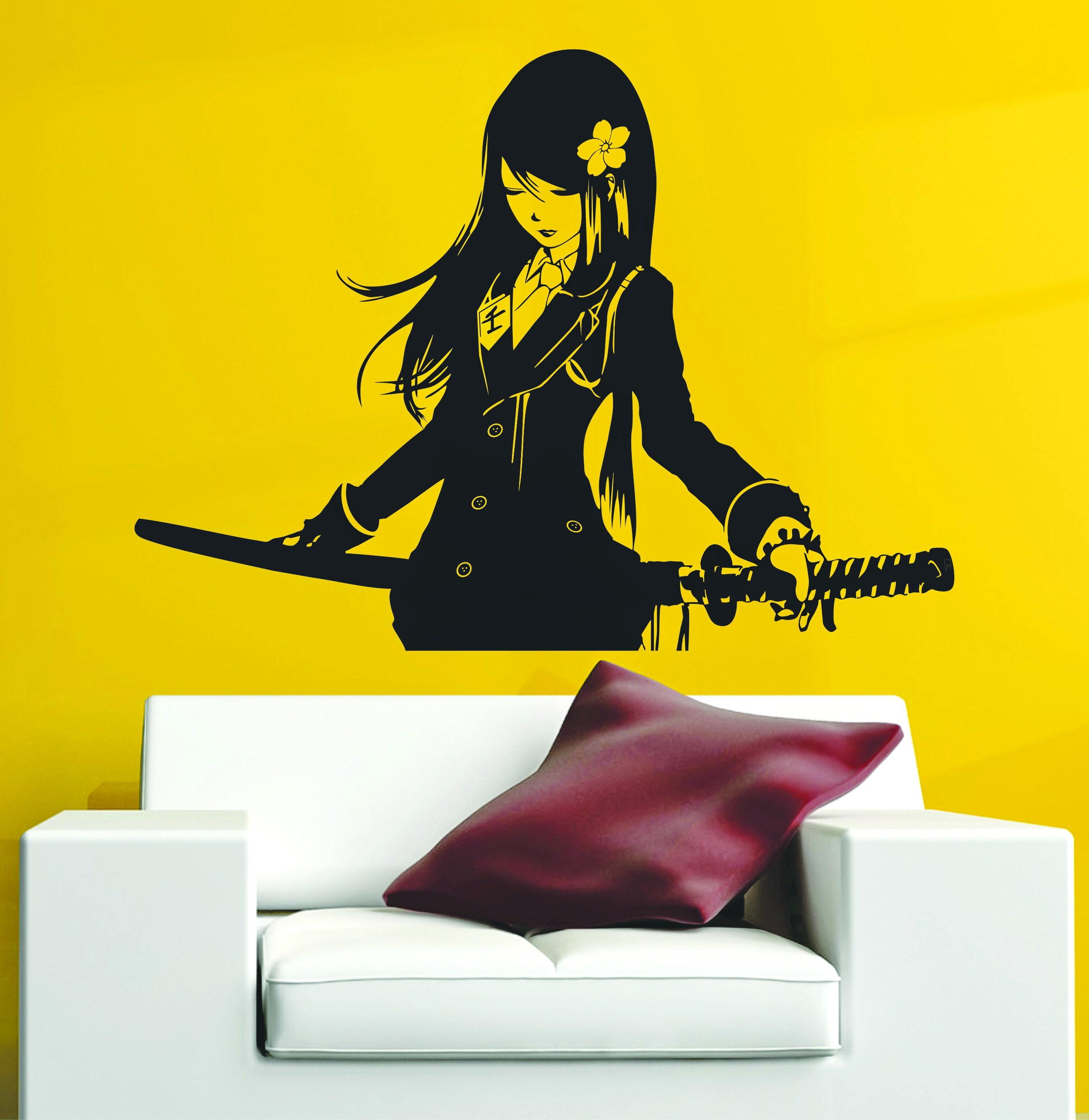 Samurai Schoolgirl Katana Japanese Akai Anime Vinyl Wall | Etsy