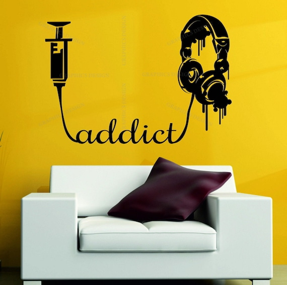 Personnalisé Musique Casque-Garçons//Filles Wall Art Sticker Chambre à coucher-Tout nom
