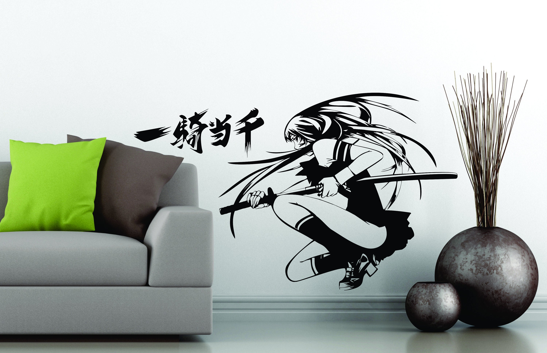 Samurai Girl Choun Shiryu Japanese Katana Swords Anime Vinyl Wall Sticker X Decal