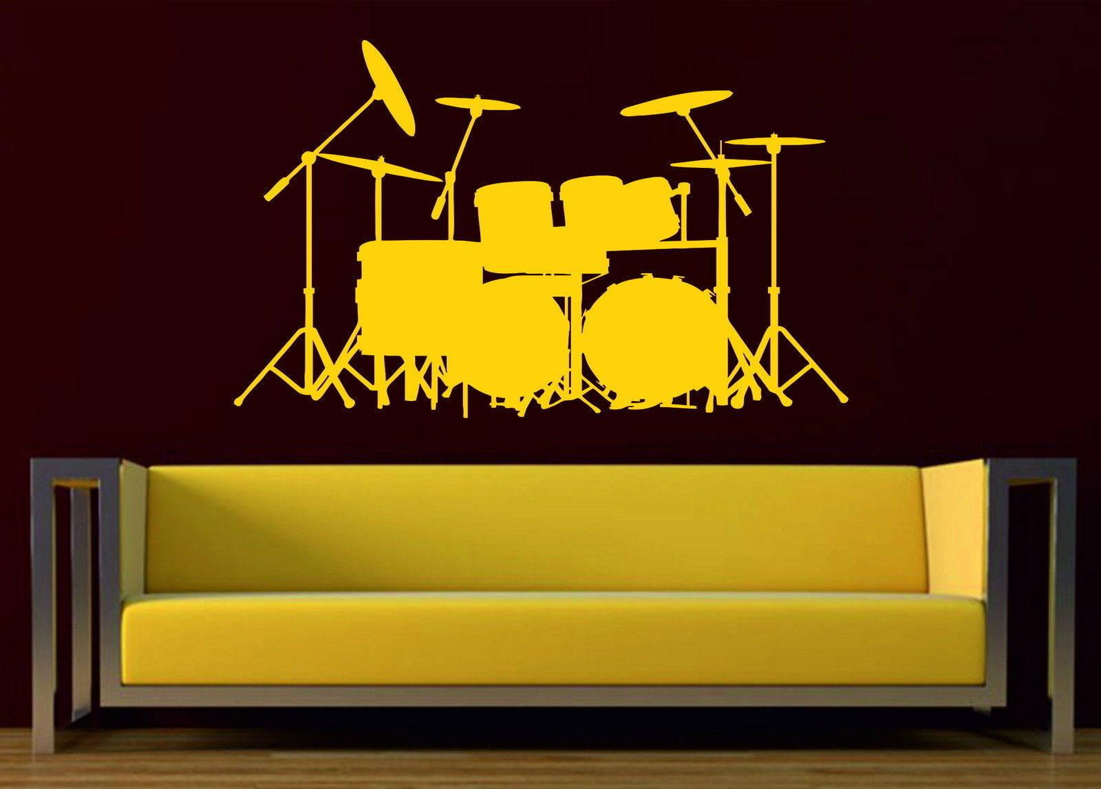 Drum Kit Set Acoustic Music Decor Vinyl Wall Sticker Bedroom ...