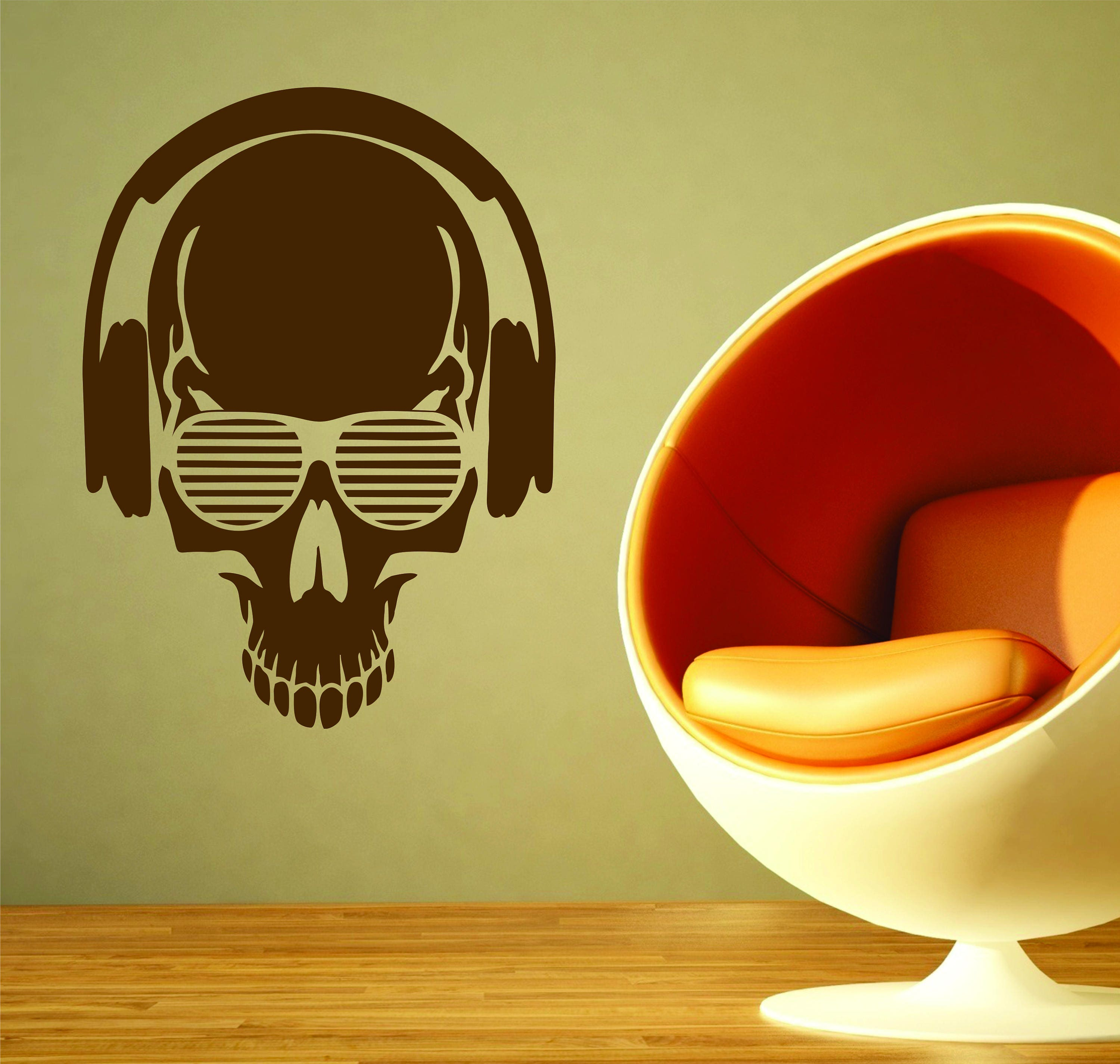 Headphone Music Skull Vinyl Wall Sticker Candy Sugar Mexican Day of ...