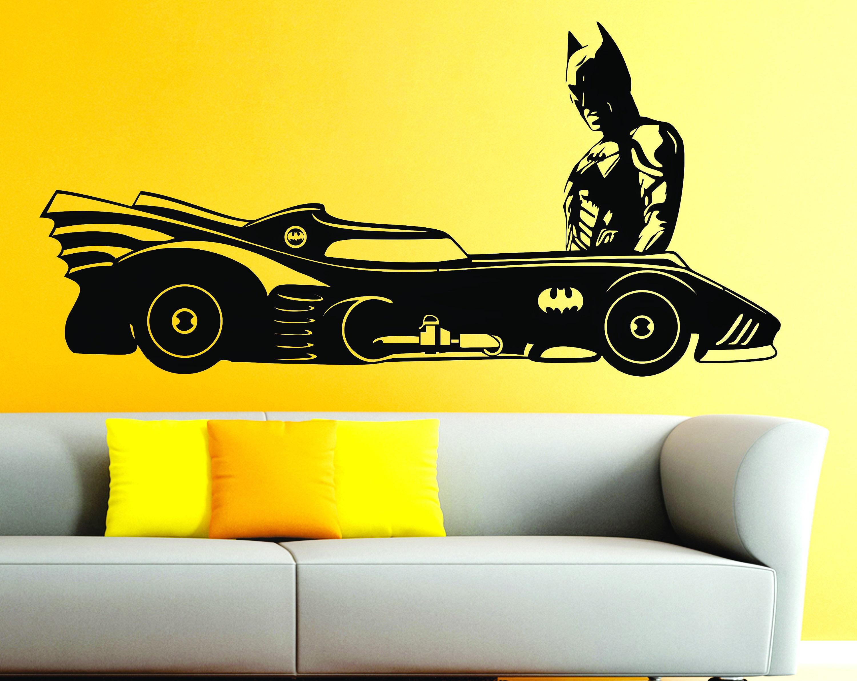 Batmobile & Batman Superhero Car DC Comic Wall Art Stickers Decals ...