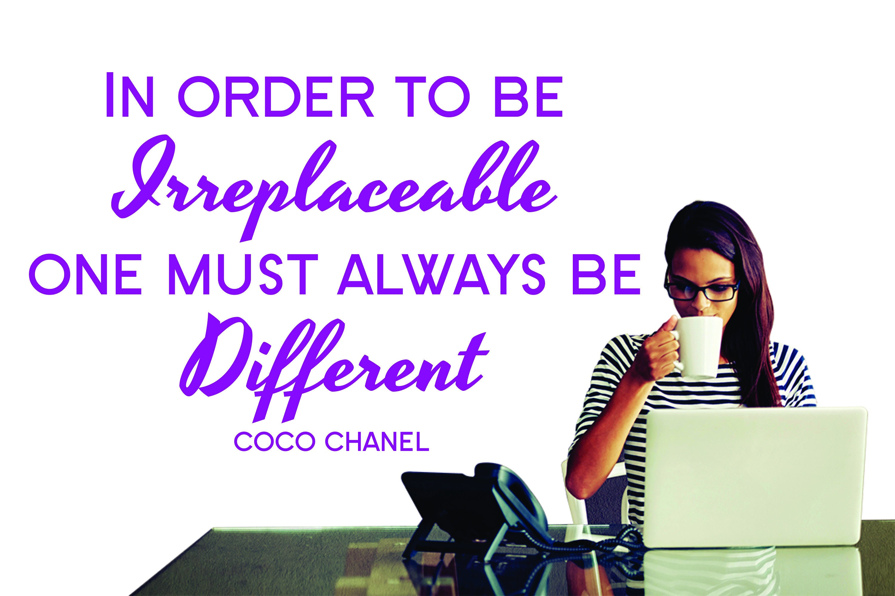 Coco chanel quote in order to be irreplaceable vinyl wall sticker decal large