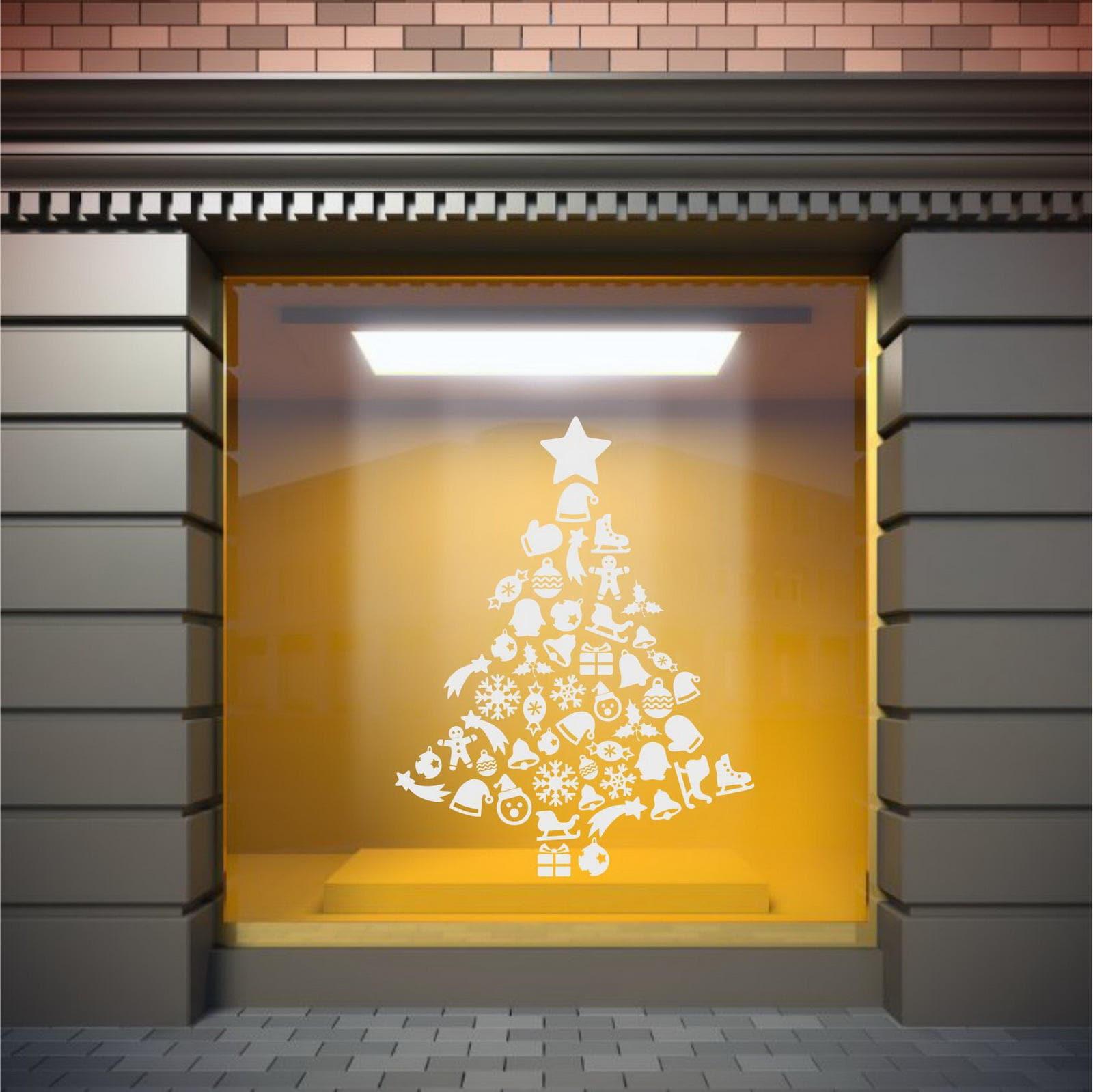 Christmas Tree Star Xmas Santa Shop Store Window Merry Christmas ...