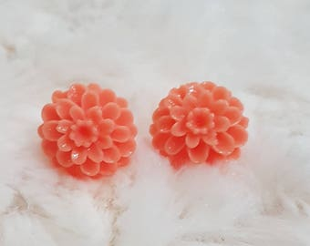 Small Floral Stud, Coral Floral Stud, Dahlia Earrings, Gift for Her