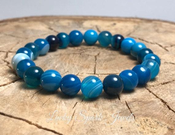Blue Lace Agate Bracelet 8mm Grade AAA Genuine Blue Lace Agate-Throat Chakra Bracelet-Blue Stone-Natural Genuine Blue Lace Agate Gemstone
