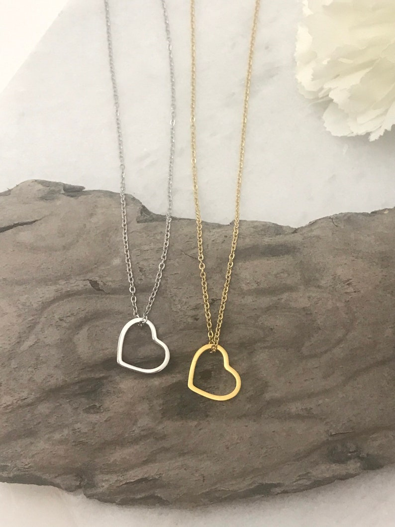 valentines gift for girlfriend valentines gift valentines day gift heart Dainty floating heart pendant and necklace gift for her