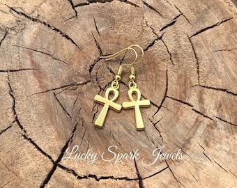 Ankh cross earrings, gold earrings, gold cross earrings, dangle earrings, egyptian cross, ankh,