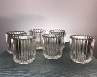 Vintage Clear Ribbed Indiana Glass Votive Candle Holder (Set of 6)