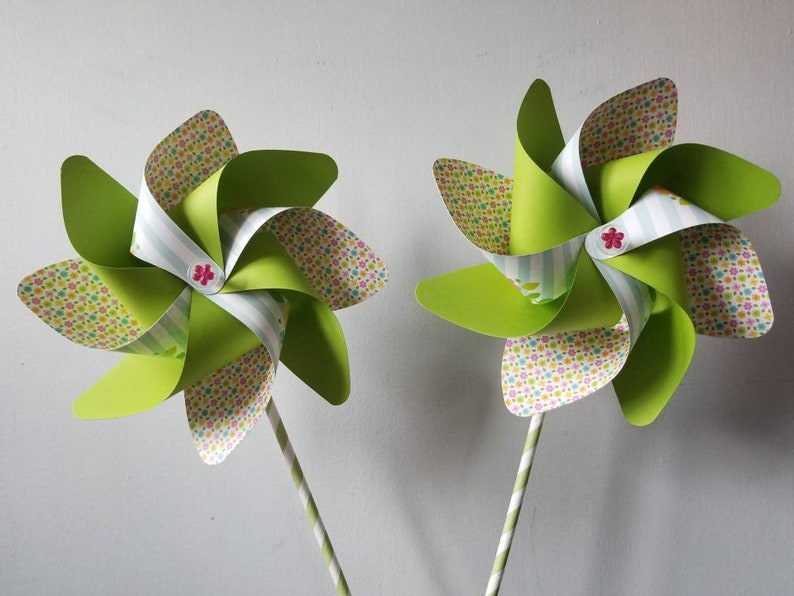 pinwheels: Easter basket stuffers bunny and chick favors spring floral party decor Easter Flowers set of 2 handmade spinning