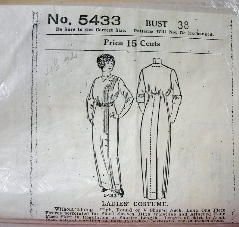 Past Patterns Ladies' dress costume historical PATTERN, Vintage