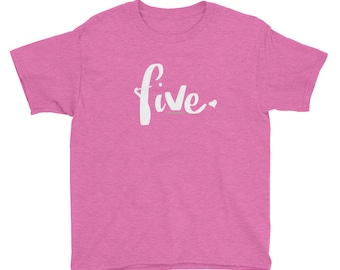4e9a114be 5th Birthday Shirts for Girls 5 | Girls 5th Birthday Shirt | Kids Gift  Ideas Age 5 Script Five Year Old Birthday Shirt Youth Shirt